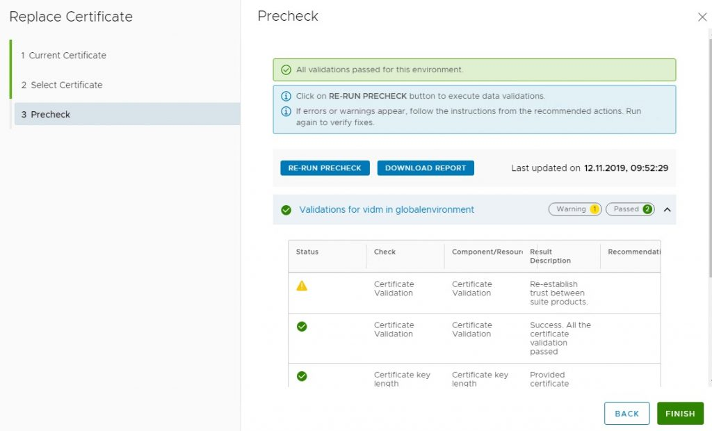 Replace Certificate precheck
